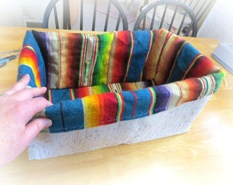 Eco Friendly Cat Basket, Upcycled Treasures, Mexican Blanket Repurposed, Washable Handmade Pet Bed, Repurposed Burlap, Handmade Baskets B020