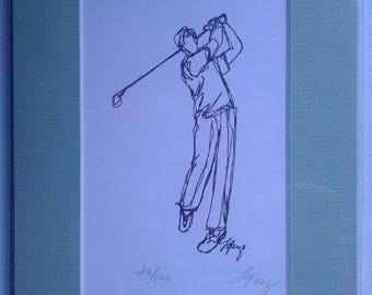 One Continuous Line Drawing Lithograph (Matted)