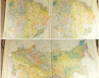 Plant book, Map Vegetation and Plants, Atlas of areal and resources of medicinal plants of the USSR, Botanical Chart, soviet book