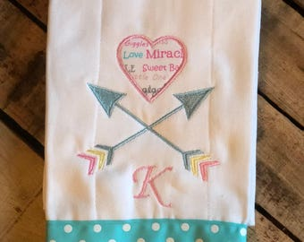 Personalized Embroidered Arrow Burp Cloth