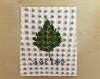 Silver Birch--6x8cm Finished completed cross stitch picture--Unframed