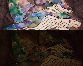 Space Whale Galaxy Glow in the Dark Watercolor Painting Artwork