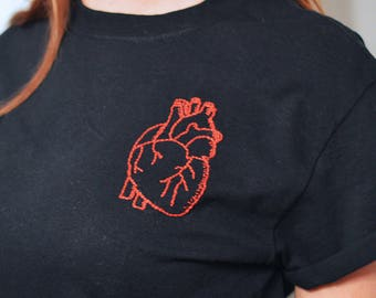 Hand Embroidered Anatomical Heart T-Shirt