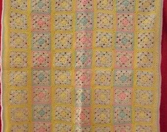 Handmade crochet baby granny afghan throw blanket