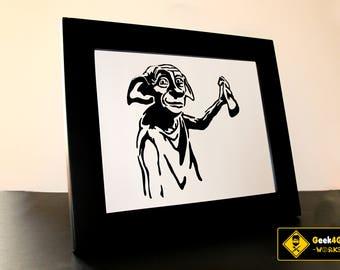 Harry Potter Dobby the House Elf Fine Paper-cut Art Framed.