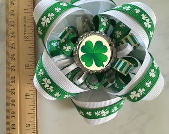 Custom Hair Bow, Personalized Hair Bow Accessory, Photo Barrette, St. Patrick's Day Hair Bow, Green Hair Bow, Custom St. Patrick's Accessory