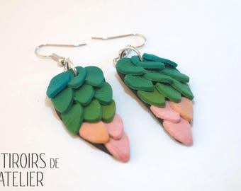 Earrings ethnic and Bohemian, pink and green wings, unique, colorful, boho