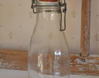 Old bottle glass - porcelain lid, Swedish