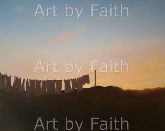 iona scottish art print washing line sunset oil painting