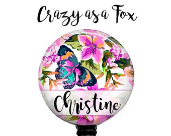 Personalized Butterfly Floral Retractable Badge Holder, Badge Reel, Lanyard, Stethoscope ID Tag, Nurse, RN, PA, Doctor, Teacher, Student