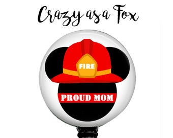 Mickey Mouse Proud Fire Mom Retractable Badge Holder, Fire TRL Badge Reel, Lanyard, Stethoscope ID Tag, Nurse, RN, Doctor, Teacher Gift