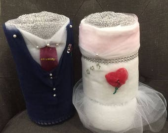 Bride & Groom Towel cakes