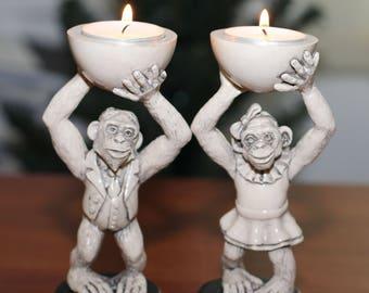 сandlesticks Funny monkeys