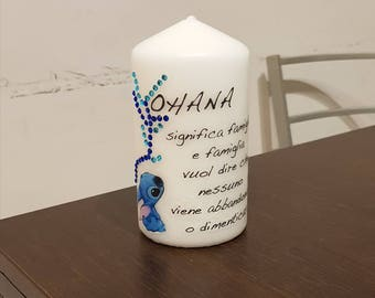 Personalized White Candle stitch