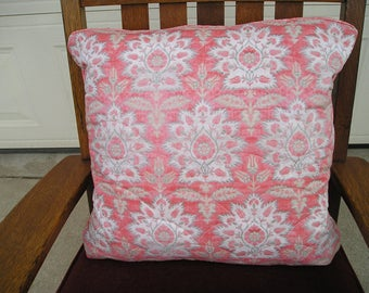 Removable Pillow Cover Quilted Carnations
