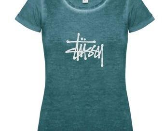 Green Dye Effect T-Shirt with Stüssy Logo