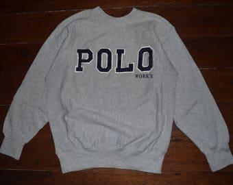 Vintage Polo work's 90s Embroidery logo Crewneck Sweat shirt