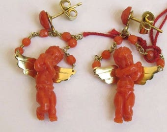 Earrings Amori Gold Coral engraved