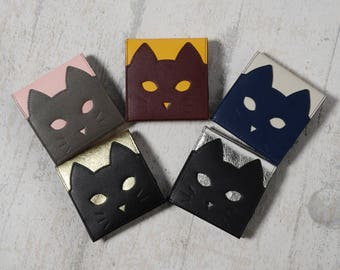 Chigracci/cat Wallet Silver/cat wallet/thin stylish purse/made in Japan/book leather/realleather