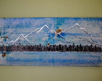 Snowy mountains - original acrylic painting on wood - free shipping