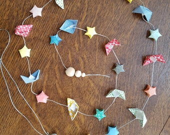 Origami boats and stars Garland
