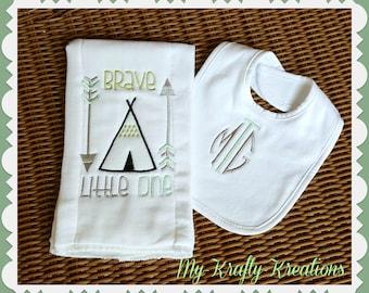Brave Little One Burp Cloth & Bib Set Baby Boy Gift Diaper
