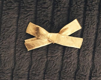 Metallic Gold Bow Clean Classic Hand Tied Bow Nylon headband or Clip