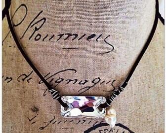 Gorgeous Swarovski rectangle Crystal necklace on leather-  wholesale !