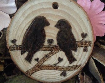 Personalised Pyrographed Love Birds Keyring or Ornament