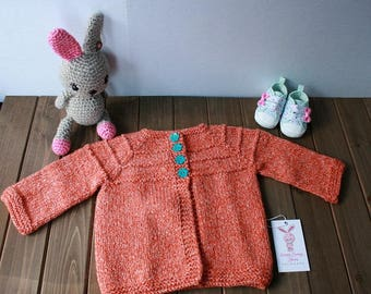 Hand Knit Baby Sweater 12-18M Ready to Ship