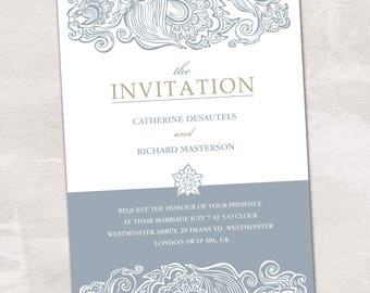 Wedding Invitation, Wedding Invitation with Matching RSVP and Other Information Card, Traditional Wedding Invitation, Classic Wedding Invite