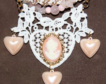 Upcycled Wedding Charm Necklace,Bridal Lace,Cameo, Fresh Water Pearls, Rose Quartz, Kumihimo, Recycled, Valentine's Day, Hearts