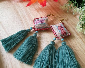 Handcraft Embroidered Tribal Ethnic Earrings Statement Dangle Drop Unique Boho Chic Beaded Tassel Earrings