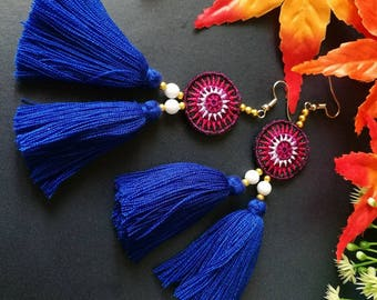 Handcraft Embroidered Tribal Ethnic Earrings Statement Dangle Drop Ethnic Boho Chic Tassel Earrings