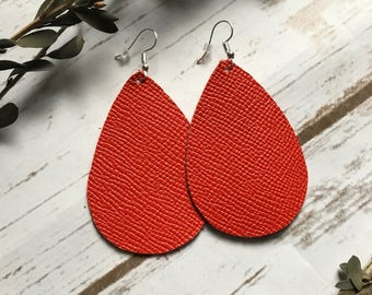 Orange Saffiano Leather Teardrop Earrings