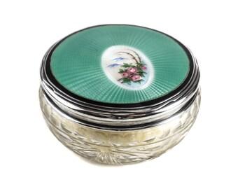 Foster & Bailey Sterling Silver Guilloche Enamel Cut Crystal Powder Jar, c1900