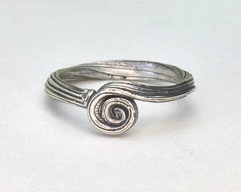 No Stone Engagement Ring, Sterling Silver, spiral ring, nature ring, organic ring, orokoro