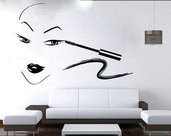 Wall Decal Window Sticker Beauty Salon Woman Face Eyelashes Lashes Eyebrows Brows t15