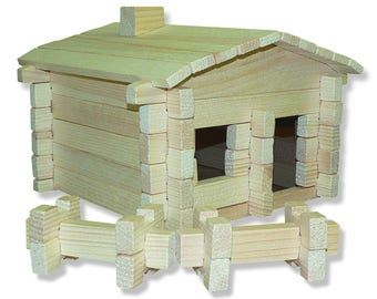 Roy Toy Earth Friendly 73 pc. Log Cabin Building Set, Made in the USA