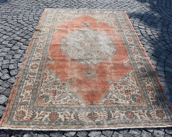 Very Rare Condition and Pattern Turkish Rug Free Shipping Oushak Rug 5.5 x 8.8 ft. Bohemian Area Rug Handknotted Turkish Rug Large Size MB7