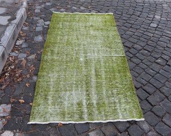 Soft Green Colored Over Dyed Rug Free Shipping Turkish Rug 3.2 x 6.3 ft. Anatolian Decorative Rug Small Area Rug Oushak Rug Boho Rug MB92
