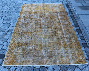 Overdyed yellow rug, Free Shipping 4.9 x 8.5 ft. boho rug, handknotted area rug, anatolian nomadic rug, tribal rug, pale color rug, MB330