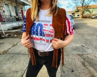 American Mom shirt and suede Original 1970s fringe vest