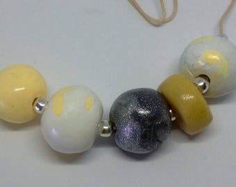 Polymer clay and silver beads