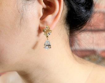 Gold Bridal Earrings Wedding earrings Crystal Bridal earrings Wedding Jewelry Crystal Stud Earrings necklace braceletwedding jewelry set