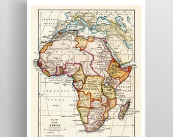 Antique Vintage Map of Africa