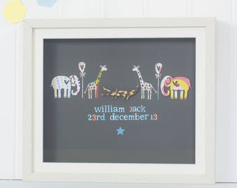 New baby gift, christening gift, first birthday gift, personalised nursery artwork, boxed frame, framed keepsake