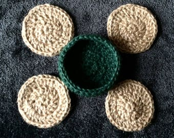 CROCHET JUTE COASTERS handmade from 3-ply coloured jute twine * set of 4 in basket