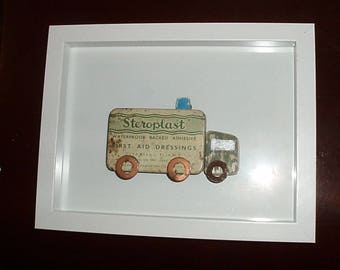 Rustic Vehicle Van Truck Picture.Framed.FLOTSAM SOUP STUDIO.Old Tin Driftwood Cottage