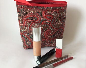 Silk Make Up Bag, Silk Red Paisley Make up Bag, Cosmetics Bag